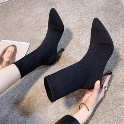 Women Pointed Toe Stiletto High-heeled Knitted Boots