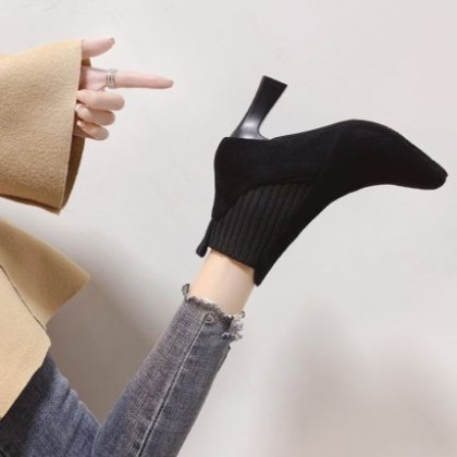 Women Casual Office Pointed Toe Stiletto Suede Boots