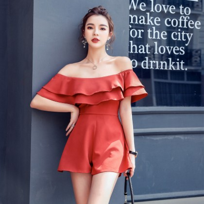 Women Casual Collar Tube Top Short Wide Leg Jumpsuit