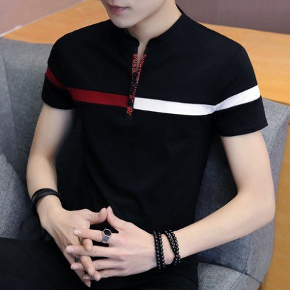 Men Casual Korean Crew Neck Short-sleeved Slim Fit T-shirt