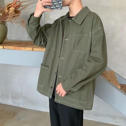 Men Casual Trend Loose Student Shirt Jacket