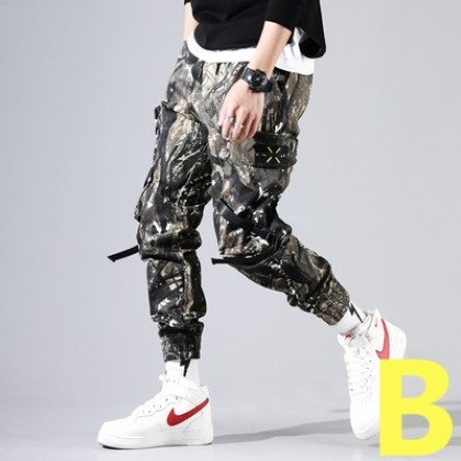 Men Casual Camouflage Military Style  Loose Cropped Pants
