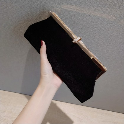 Women Velvet Fishhook Rhinestone Clutch Bag