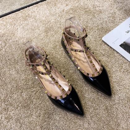 Women Casual  Elegant Rivet Stud Pointed Shoes
