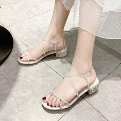 Women Summer Fashion Sparkling Rhinestones High-heeled Sandals
