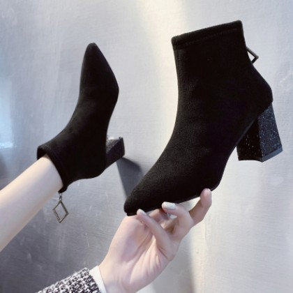 Women Fashion Plus Velvet High-heeled Short Boots