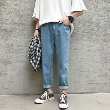 Men Casual Nine Points Straight Solid Color Pants