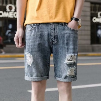 Men Casual Five Points Pants Ripped Jeans Design