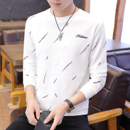Men Casual Round Neck Long Sleeve Pattern Printed T-Shirt
