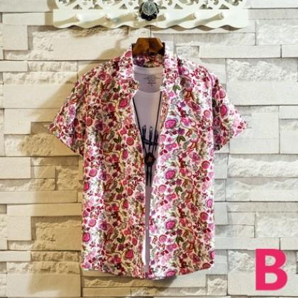 Men Short Sleeve Floral Printed Beach Fashion Shirt
