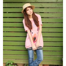 [READY STOCK] Pink Hooded Short Sleeve Long T