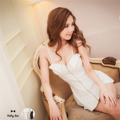 [READY STOCK] White Sexy Zipped Slim Elastic Dress