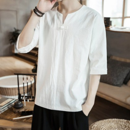Men Clothing Half Sleeve Loose Embroidery Formal to Casual Shirt