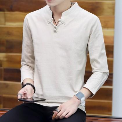Men Clothing Long Sleeve Retro Loose Cotton Linen Shirt