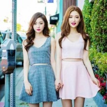 Korean 2 pieces sister's BFF A shape dress