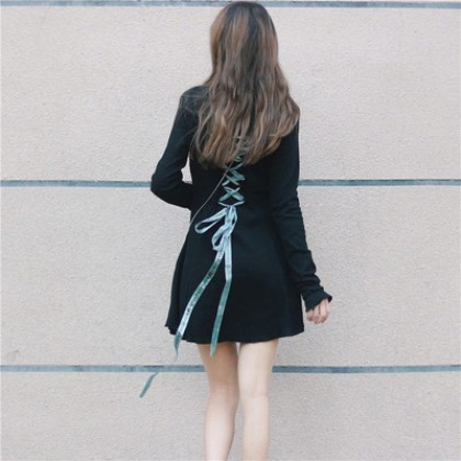 Back Ribbon Long Sleeve High-necked Dress