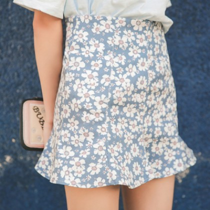Summer Floral Printed Fishtail Skirts