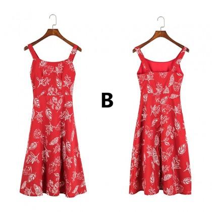 Women Clothing Sleeveless Nature Print Beach Dress