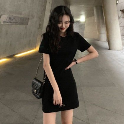 Women Clothing Short Sleeve Plain Long T-shirt  Dress
