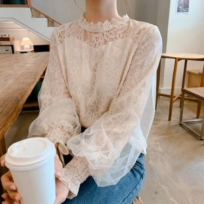 Women Clothing Retro Long Sleeve Lace Mesh Shirt