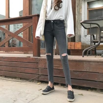 [READY STOCK] Retro Korean Tight Knees-cut Holes Jeans