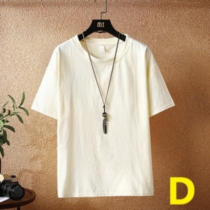 Men Clothing Large Size Round Neck Short Sleeve Solid Color Shirt