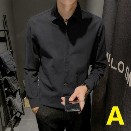 Men Clothing Formal Long Sleeve Linen Shirt