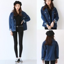 [READY STOCK] 2XL Plus Size Denim Long Sleeve Women Jacket