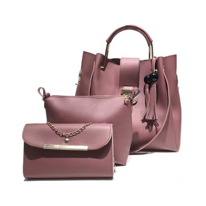 Women Shoulder Messenger Bag Three Piece Tassel Casual