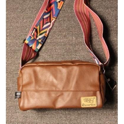 Men Casual Fashion Shoulder Bag Colorful Stripes Strap