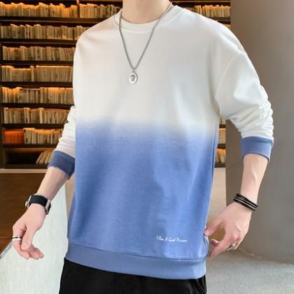 Men Clothing Round Neck Long Sleeve Casual Sweatshirt