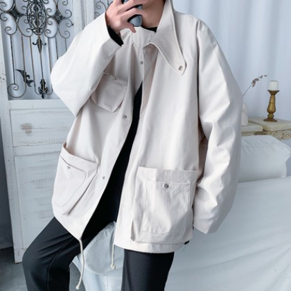 Men Clothing Casual Long-sleeved Multi Pocket Coat
