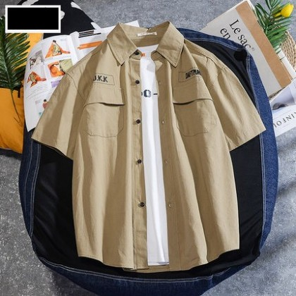 Men Clothing Short-sleeved Loose Cotton Shirt
