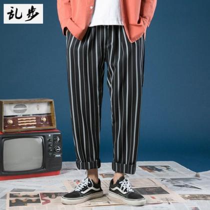 Men Clothing Loose Wide Leg Nine Points Striped Pants