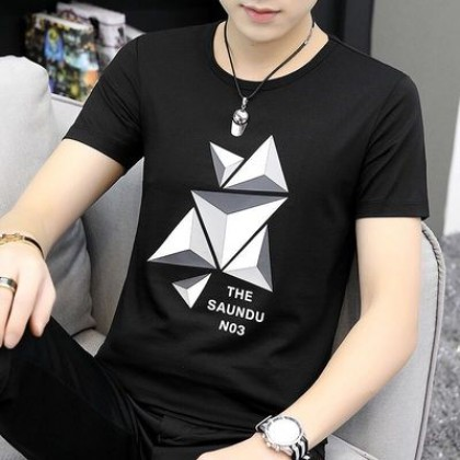 Men Clothing Short-sleeved Round Neck T-shirt