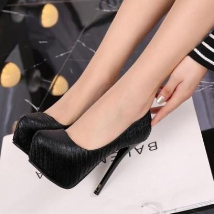 Women Casual Fashion Waterproof Platform High-heeled Black Shoes