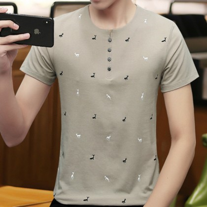 Men Clothing Short-sleeved Round Neck Running Deer T-shirt