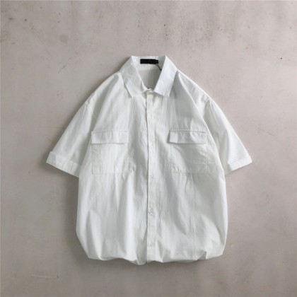 Men Clothing Short-sleeved Square Collar Summer Loose Casual Office Shirt