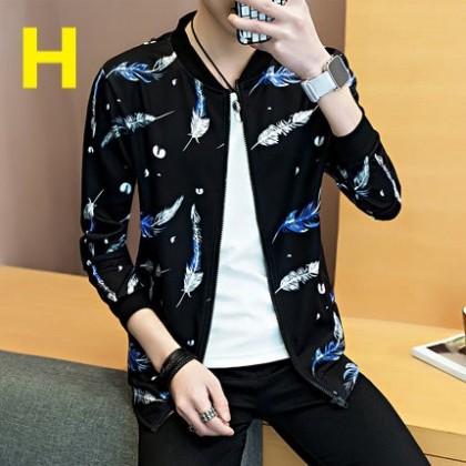 Men Clothing Long-sleeved Slim Black Patterned Jacket