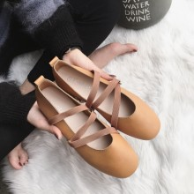 [READY STOCK / PRE-ORDER] Women's Female PU Leather Round Head Ballet Shoes