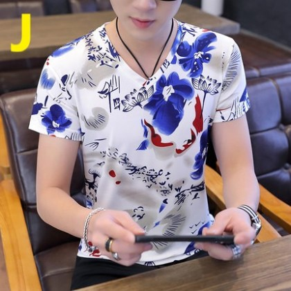 Men Clothing Short-sleeved Round Neck Abstract Design T-shirt