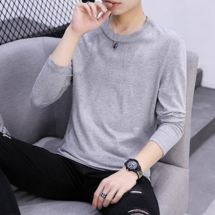 Men Clothing Long-sleeved Round Neck Cotton Solid Color Shirt