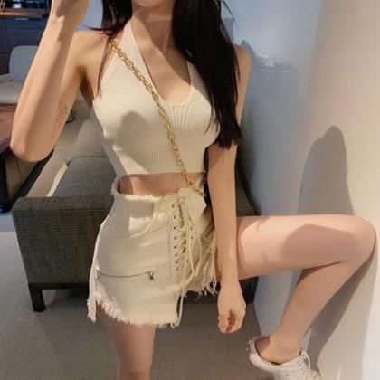 Women Clothing Sexy Short Vest + High-waist Shorts Two-piece Set