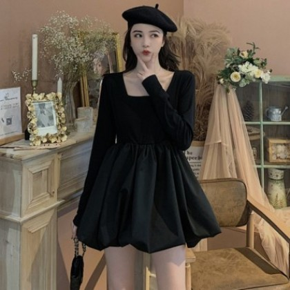 Women Clothing Square Collar High Waist Flower Bud Short Skirt Long Sleeve Dress