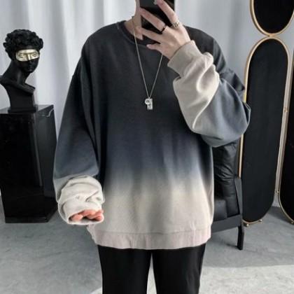 Men Clothing Retro Gradient Round Neck Sweater