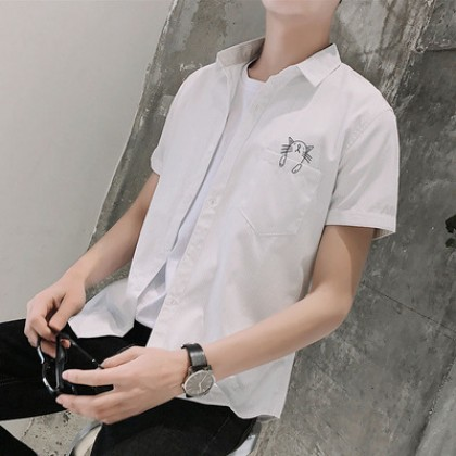 Men Clothing Short-sleeved Casual Striped Shirt