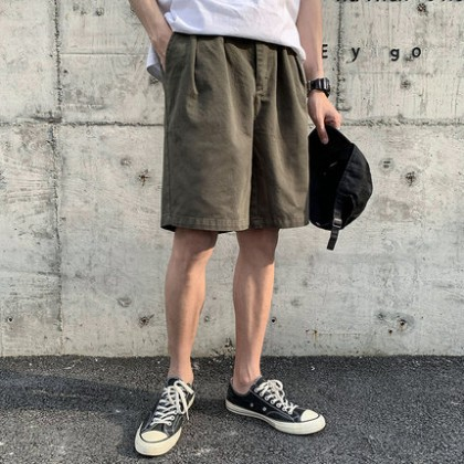 Men Clothing Retro Casual Loose Five-point Shorts
