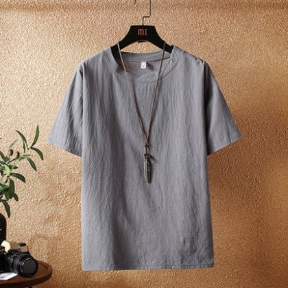 Men Clothing Loose Round Neck Short-sleeved Shirt Solid Color