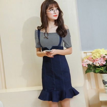 Women Denim 2 Pieces 1 Set High Waist Strap Dress