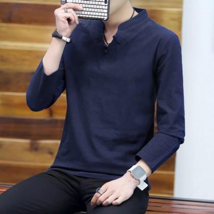 Men Clothing Retro Loose Round Neck Long-sleeved Shirt